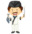 Sushi chef with fish and knife vector image