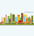 houston skyline with color buildings and blue sky vector image