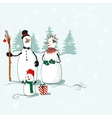 Greeting card with a snowmen vector image