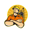 Offshore Oil and Gas Worker Rig Retro vector image