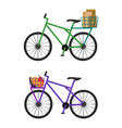 bicycles with baskets full of male envelopes and vector image