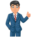 Cartoon businessman giving thumbs up vector image