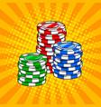 casino token pop art style vector image