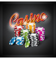 casino with color playing chips vector image