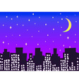City silhouette at night with stars and moon vector image