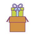 delivery online cardboard box with gift vector image