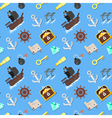 flat style seamless pattern with pirate ship vector image