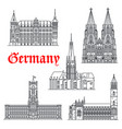 germany architecture buildings icons vector image