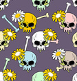 Skulls and flowers seamless pattern Cute vector image