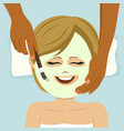 young cute woman having facial mask service in spa vector image