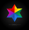 Origami colorful Star on black background vector image