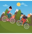 Happy Family Riding Bikes in tho Mountains vector image