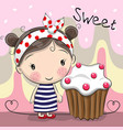 greeting card cute girl with cake vector image