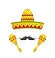 Mexican Symbols Sombrero Hat Musical Maracas vector image