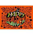 Happy Halloween lettering in pumpkin silhouette vector image