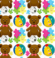 Seamless background with teddybear and ball vector image