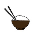 bowl of rice and chopsticks cooked dinner asian vector image