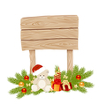 wooden sign empty christmas 01 vector image vector image