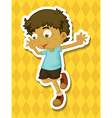 Little boy jumping around vector image vector image
