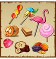 Set of sweets and dried fruits nine icons vector image