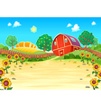 Funny landscape with the farm and sunflowers vector image