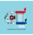 Manifold with Pump for warm floor Flat heating co vector image