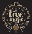 banner live music with acoustic guitar vector image