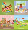 kindergarten flat design concept vector image