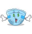 money eye baby diaper character cartoon vector image