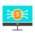 money symbol on computer screen icon vector image