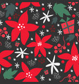 seamless floral pattern of hand drawn poinsettia vector image
