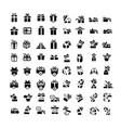 set black gift box icons set 64 item vector image