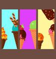 sweet cartoon cold ice cream cards set tasty vector image