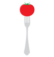 Tomato on fork vector image