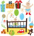 baby boy retro birthday party vector image vector image