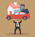 Businessman carrying debt burden vector image