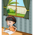 A girl with a headband writing vector image