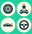 automobile icons set collection of plug drive vector image