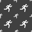 running man icon sign Seamless pattern on a gray vector image