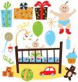 baby boy retro birthday party vector image