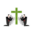 Businessman praying for money Adoration of dollars vector image