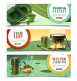 fishing sport horizontal banners set vector image