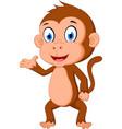 Monkey cartoon presenting vector image