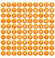 100 wealth icons set orange vector image