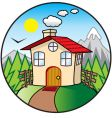 cartoon cottage vector image