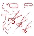 scissors needles vector image vector image