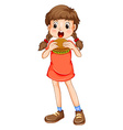 Little girl eating hamburger vector image vector image