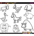 farm animals set coloring book vector image