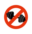 Stop bodybuilding Ban sport Prohibiting sign for vector image vector image