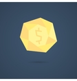 yellow polygonal coin with shadow vector image